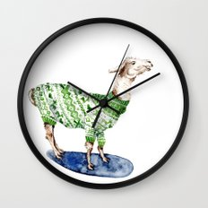 Llama in a Green Deer Sweater Wall Clock