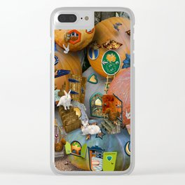 Fall Pumpkin Fantasy Tiny House Village Clear iPhone Case