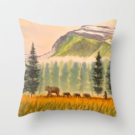 Bears On The Move - Hey Wait For Me! Throw Pillow