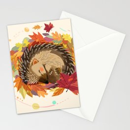 Hedgehog in Autumn Leaves Stationery Cards
