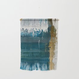 Rain [3]: a minimal, abstract mixed-media piece in blues, white, and gold by Alyssa Hamilton Art Wall Hanging