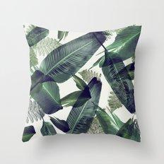 Tropical banana leaf, Flowing palms, greens Hawaii, beach decor, vintage Throw Pillow