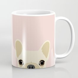 French Bulldog Peek - Cream on Pale Pink Coffee Mug