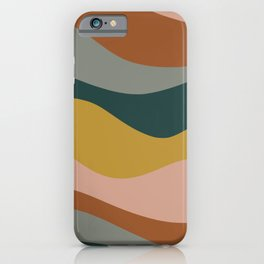 Retro Waves Minimalist Pattern 2 in Rust, Blush Pink, Gray, Navy Blue, and Mustard Gold iPhone Case