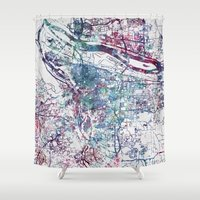 portland Shower Curtains featuring Portland map by MapMapMaps.Watercolors