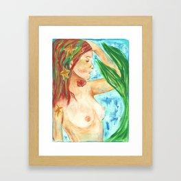 She wears the sea in her hair Framed Art Print