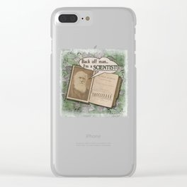 """Charles Darwin: """"Back off man, I'm a SCIENTIST!"""" Clear iPhone Case"""