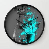 russian Wall Clocks featuring Russian Blue by Anwar Rafiee