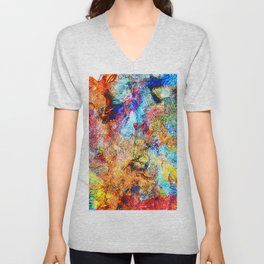 abstract drawing by hand oil paints. background, texture Unisex V-Neck