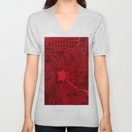 Red Geek Motherboard Circuit Pattern Unisex V-Neck