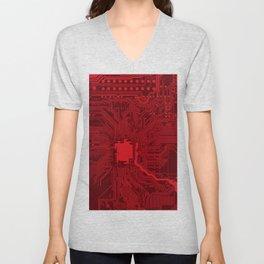 Red Geek Motherboard Circuit Pattern Unisex V-Neck
