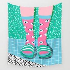 Chillax - memphis throwback style retro classic 1980s 80s grid pattern socks fashion apparel Wall Tapestry