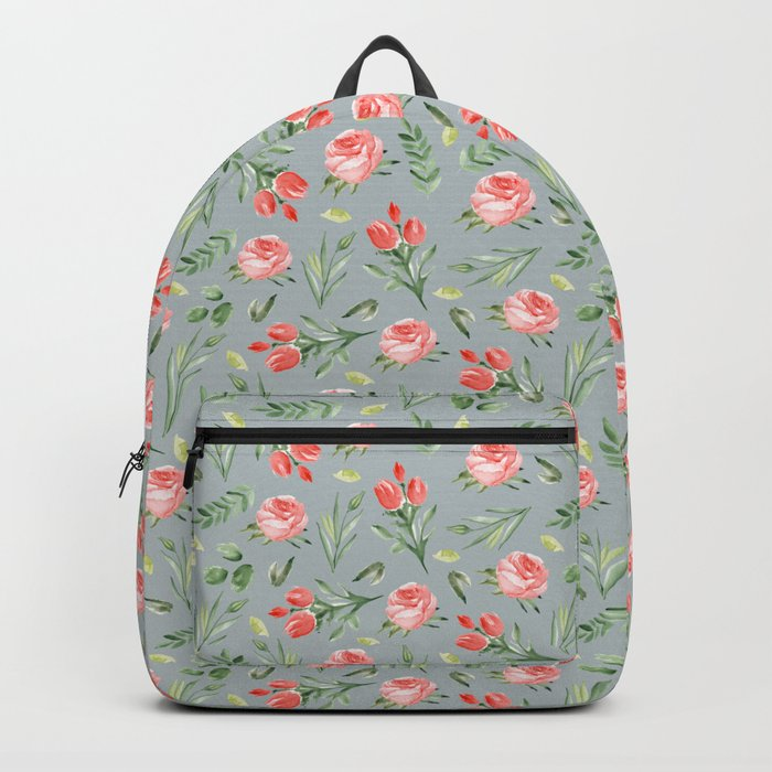 Roses. Grey pattern Backpack