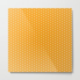 White dots on orange background Metal Print