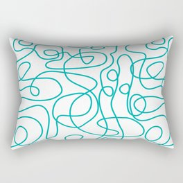 Doodle Line Art   Teal Green Lines on White Background Rectangular Pillow