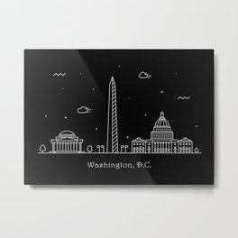 Washington D.C. Minimal Nightscape / Skyline Drawing Metal Print