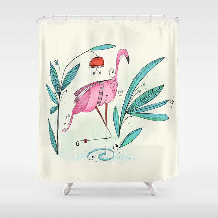 Flamingo Shower Curtain By Huemula