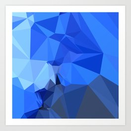 Brandeis Blue Abstract Low Polygon Background Art Print