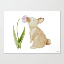 Bunny smelling a Tulip Canvas Print