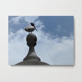 Pelican Posing in San Juan Metal Print