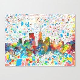 indianapolis city skyline watercolor 6 Canvas Print