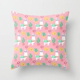 Cute Alpaca & Cactus Pattern Throw Pillow