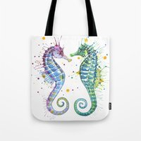 seahorse Tote Bags featuring Seahorse by Sam Nagel