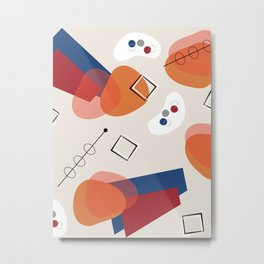 Mid Century Modern Cream Futuristic Atomic Pattern Metal Print