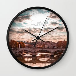 view of the Vittorio Emanuele II Bridge at sunset, with the Tiber, in Rome, Italy Wall Clock