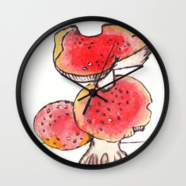 mushroom illustration  Wall Clock