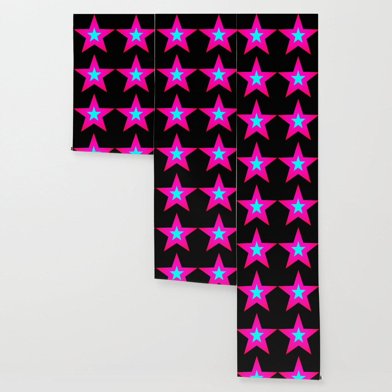 Star Pink Aqua Black Wallpaper By Lilkiddies Society6