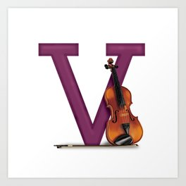 V is for Violin Art Print