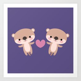 Kawaii otters Art Print