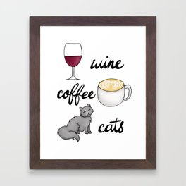 Wine Coffee Cats Framed Art Print