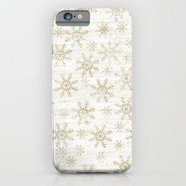 Golden Snowflakes Winter Design iPhone Case