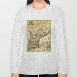 Map of Maine, New Hampshire, Vermont, Massachusetts, Rhode Island, Connecticut, Lower Canada (1860) Long Sleeve T-shirt