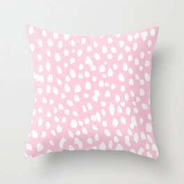 Dalmation in pink and white Throw Pillow