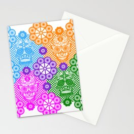 deadly mexican skull picnic pattern ecopop Stationery Cards