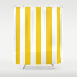 Jonquil yellow - solid color - white vertical lines pattern Shower Curtain