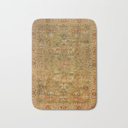Persian 19th Century Authentic Colorful Muted Green Yellow Blue Vintage Patterns Bath Mat