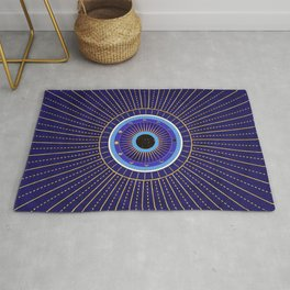 Cobalt Blue Evil Eye Mandala  with Moon Phases Rug
