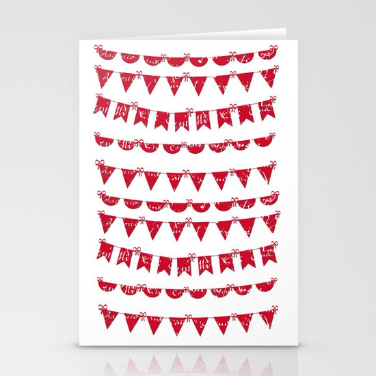 Red and White French script bunting Stationery Cards
