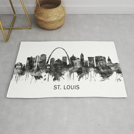 St. Louis Missouri Skyline BW Rug