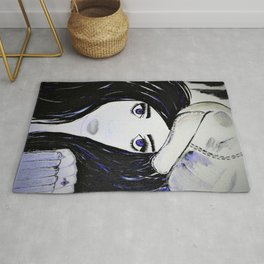 Girl with Black Hair and Hat. Blue Eyes Hand Painted by Jodi Tomer Rug