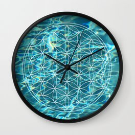 Flower of life in the water Wall Clock