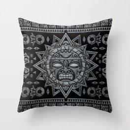 Aztec Sun God - Stone on Black Throw Pillow
