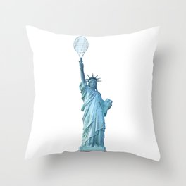 Statue of Liberty with Tennis Racquet Throw Pillow