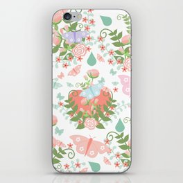 Abstract coral pink green butterfly floral illustration iPhone Skin