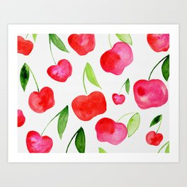 Watercolor cherries - red and green Art Print