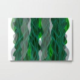Parallel Lines No.: 03. - Blue-Green, Symmetrical Metal Print